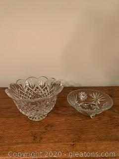 Lot of 2 Cut Glass Candy Dishes