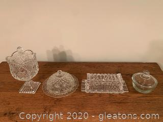 Assorted Cut Glass Dishes