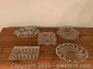 Assortment of Cut Glass Trays/Serving Dishes