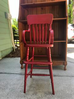 Child's Wooden Booster High Chair