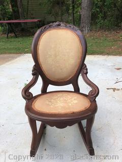 Antique Low Oval Back Hardwood Rocker