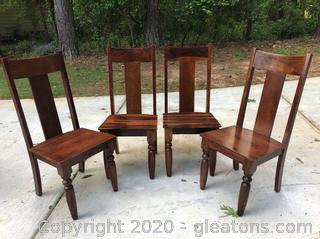 4 Hardwood Dining Chairs - FarmhouseStyle