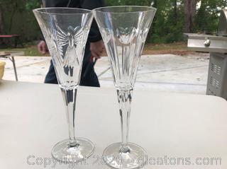 Pair of Lead Crystal Toasting Flutes