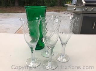 Vintage Napco Vase & 4 Wine Glasses