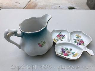 Antique Ceramic Pitcher & Tray