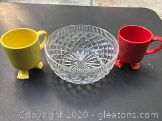 A Crystal Serving Bowl and 2 Mugs with Feet
