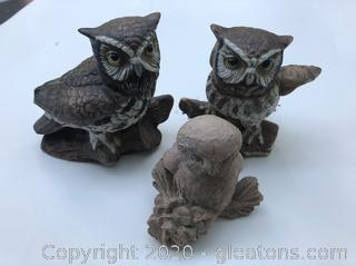 3 Owl Decor Pieces