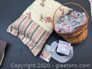 Handmade Pillow and a Longaberger Basket