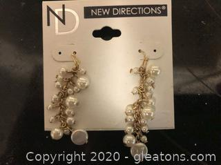 New Directions Lustrious Pearl –Like Earrings