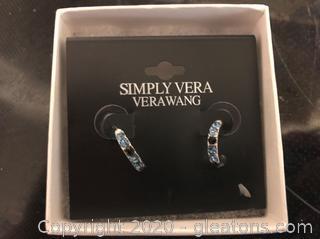 Vera Wang Blue Rhinestone Earrings
