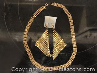 Gold Shimmer Necklace and Earring Fashion Set