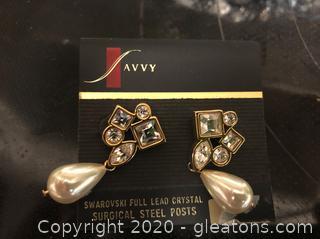 Swarovski Lead Crystal Pierced Earrings