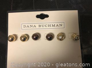 3 Pair Dana Buchman Pierced Earrings