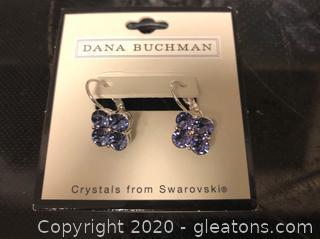 Dana Buchman Pierced Earrings with Amethyst Swarovski Crystals