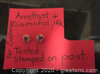 14k, Amethyst and Diamond Pierced Earrings