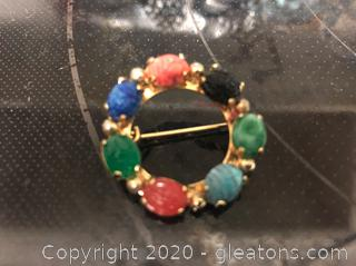 Fashion Pin with 7 Gemstones , Multi-Colored Stones. Vintage