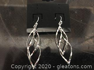 Sterling Silver Double – Tear Drop Dangle Pierced Earrings