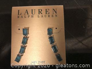 Blue Rhinestone Earrings with 14k Posts