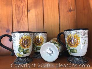 Set of 4 Sunflower Coffee Mugs