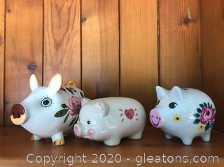 3 Vintage Piggy Banks