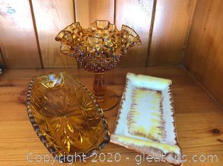 2 Amber Glass Pieces & Ashtray