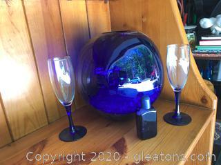Cobalt Toasting Flutes, Large Round Vase and Small Bottle