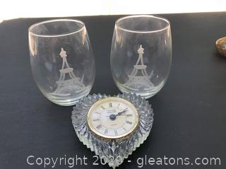 Godinger Crystal Heart Clock and Pair of Eiffel Tower Etched Brandy Glasses