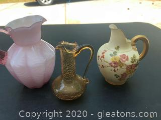 3 Small Collectible Pitchers