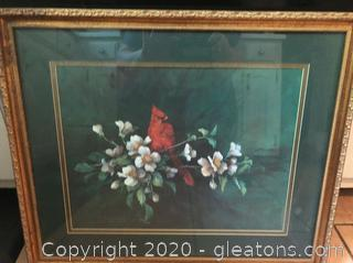 Beautifully Matted and Framed Cardinal Wall Decor