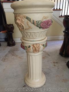 Weller Lion Roma Jardiniere & Pedestal