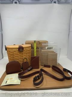 Longaberger Country Estate Collection Medium Saddle Brook Basket, key Chain, Zip Coin Purse and Credit Card Case