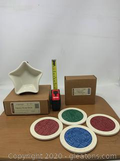 Longaberger Pottery Star Dish and Coasters