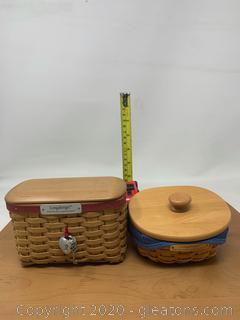 Longaberger 2002 and 2004 Hostess Appreciation Baskets and Heart Locket  Tie – On