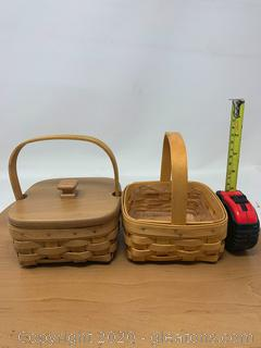 Longaberger Small Square Baskets One with Woodcrafts Lid