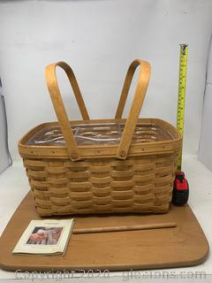 Longaberger Market Basket with Protector and Inserts