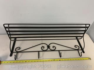 Longaberger Wrought Iron Wall Shelf with 4 Hooks