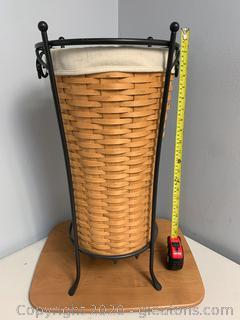 Longaberger 2004 Umbrella Basket Set with Wrought Iron Stand