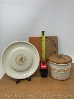 Longaberger Pottery Candy Corn Pillar Candle Holder and Candy Dish