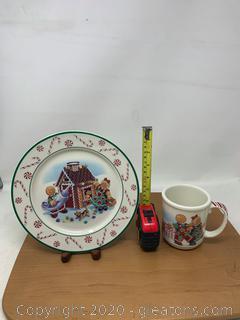 Longaberger Pottery Christmas 2000 Roger and Ginger Plate and Mug