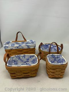 Longaberger Cottage Trellis Leather Strap Baskets (Rare Retired)