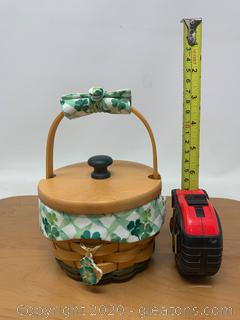 Longaberger St.Patrick's Day Lucky You Basket with Woodcrafts Lid and Tie-On