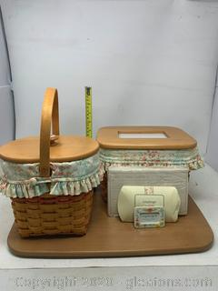 Longaberger Mothers Day Set  Basket With Top ,Basket with Picture Lid, Tie-on and Divider and Envelope Set