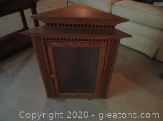 Solid Wood Corner Cabinet with Floating Shelf
