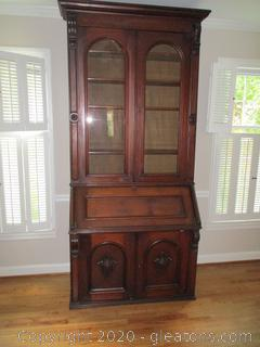 Antique Secretary with Glass Front Hutch
