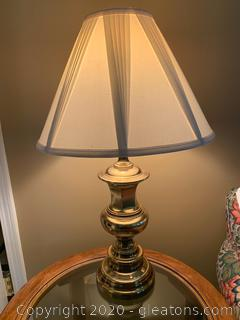 Brass Table Lamp with White Shade