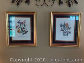 Set of 2 Floral Lithographs
