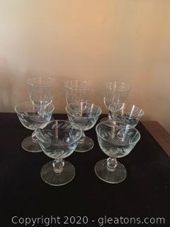 Vintage Etched Glass Goblets