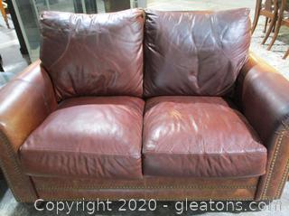 High End Brown Legacy Leather Loveseat