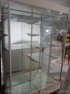 Vintage Lighted Aluminum and Glass Display Cabinet