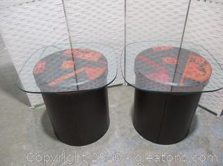 Pair of Round Leather Like Accent Tables with Glass Tops